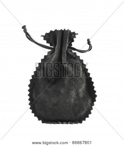 Black suede pouch isolated
