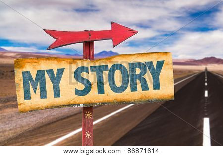 My Story sign with road background