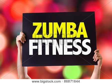 Zumba Fitness card with bokeh background