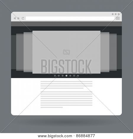 Flat browser window with photo slideshow. Vector illustration