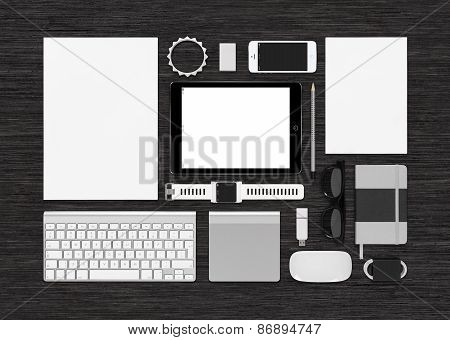 Top View Of Technology Mock Up That Consists Of Tablet Pc Smartphone And Smartwatch