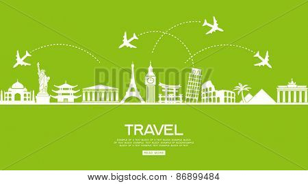 Infographics elements: Travel and Famous Landmarks. Travel concept with stylish icons