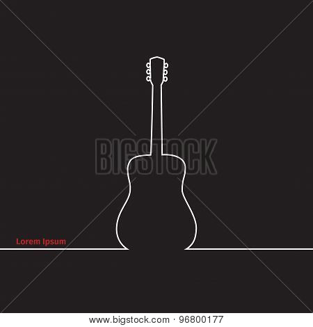 Guitars Silhouette On A Advertising Card