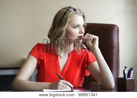 Smart Business Woman In Chair