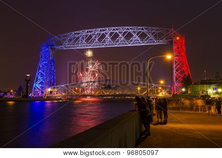 Lift Bridge with Fireworks