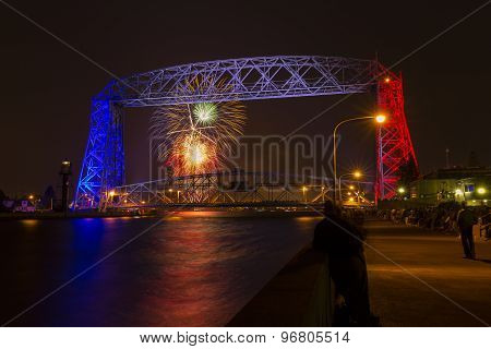 Duluth Lift Bridge Fireworks