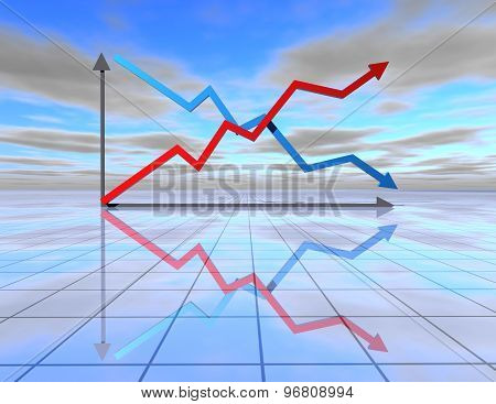 Beautiful Abstract Blue Background With Graph And Up And Down Arrows
