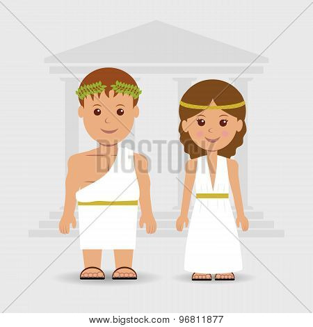 A man and a woman in Greek robes