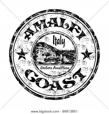 Amalfi Coast grunge rubber stamp