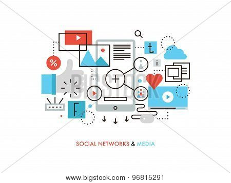 Social Network Flat Line Illustration