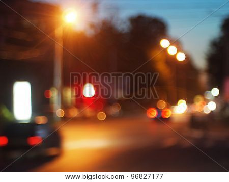 Blurred Out Of Focus Lights From Cars In A Night Scene