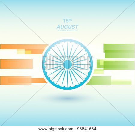 Indian Independence Day background with Ashoka wheel. Abstract colorful background. 15th August, India Independence Day celebrations concept national flag color theme. Independence Day celebrations poster