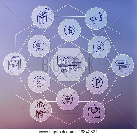 Money Flat icon set for Web and Mobile Application.