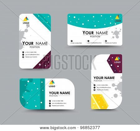 Dot Colorful Business Card Template. Vector Illustration.