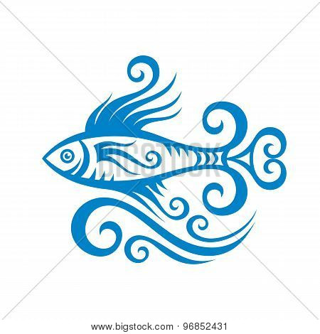 Beautiful fish and waves - creative vector illustration in graphic line style.
