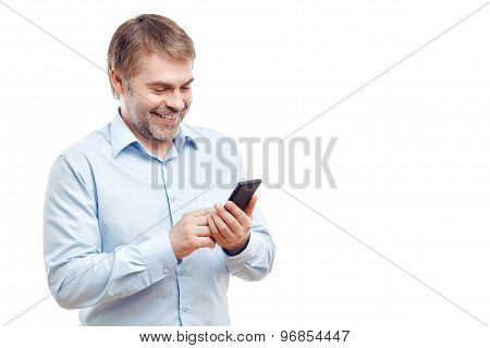 Vivacious man holding mobile phone