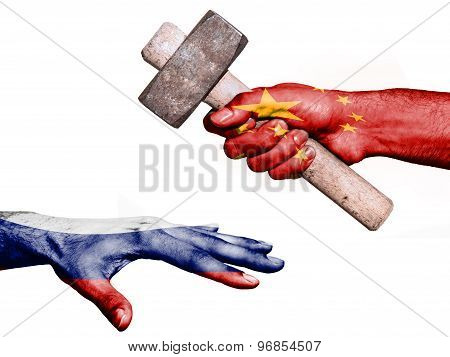Flag of China overprinted on a hand holding a heavy hammer hitting a hand representing the Russia. Conceptual image for political fiscal or social aggressions penalties taxation poster