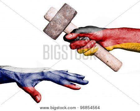 Flag of Germany overprinted on a hand holding a heavy hammer hitting a hand representing the Russia. Conceptual image for political fiscal or social aggressions penalties taxation poster