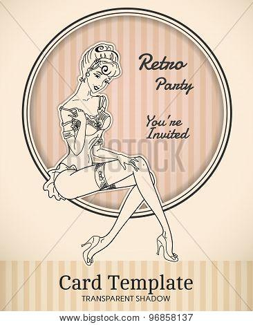 Vintage Pin-Up Woman Card