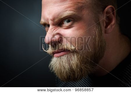 Frightening bearded man