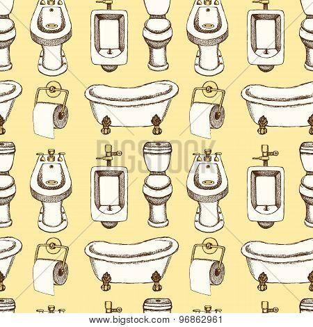 Sketch Toilet And Bathroom Eguipment In Vintage Style