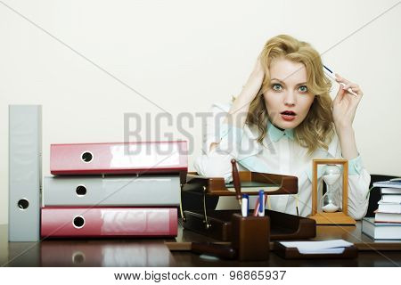 Secretary Woman At Office Table