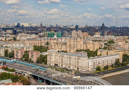 Top view of the streets and squares of Moscow