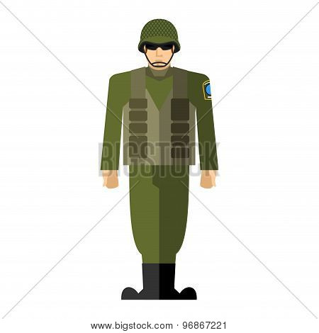 Soldiers. Vector Illustration Of A Military Man. Army Clothing, Full Of Ammunition: Helmet And Body