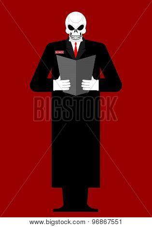 Mr Death. Skeleton In A Black Cloak. Reads Last Will And Testament. Vector Illustration