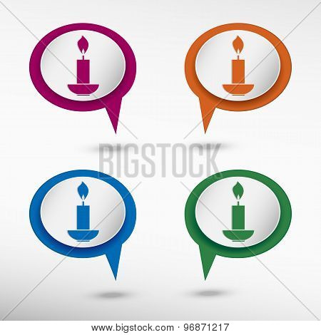 Candle icon on colorful chat speech bubbles