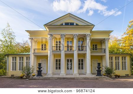 Russian manor house in autumn park