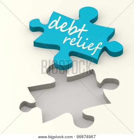 Debt Relief On Blue Puzzle