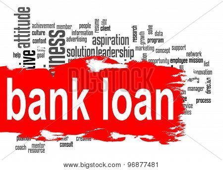 Bank Loan Word Cloud With Red Banner