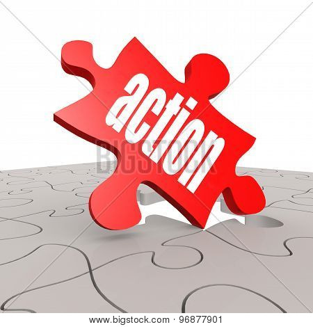 Action Word With Puzzle Background