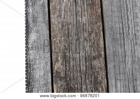 Handsaw And  Measuring Tape On A Wooden Board With Copyspace