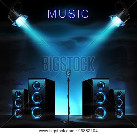 Stage with audio speakers, microphone, spotlight and sparkles. Music background. poster