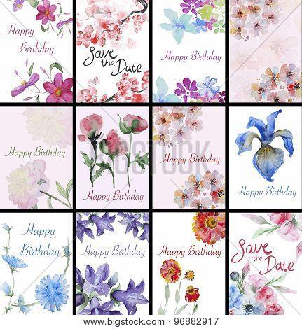 Set of handpainted watercolor flowers