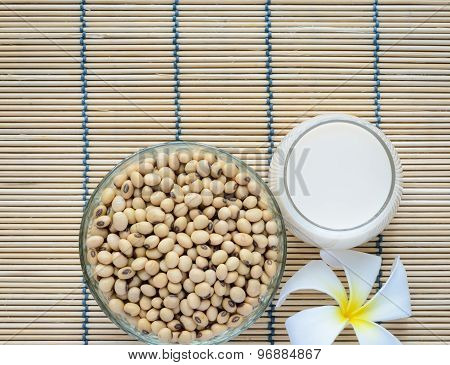 Fresh Soy Milk And Soybean Seeds