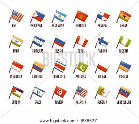 Vector set of fags. philippine, india, argentina, russia, morocco, peru, honduras, costa rica, indon