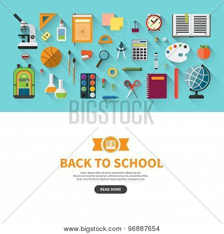 Back to school flat design vector banner with education icon set. School supplies : textbook, notebook, pen, pencil, paints, stationary, training aids, school bag, ball etc. Space for text poster