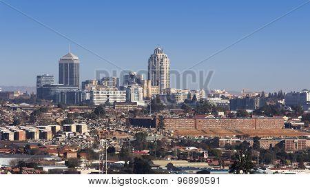 Sandton, Gauteng, South Africa - July 17, 2015: Cityscape looking Northwest towards the Sandton skyl