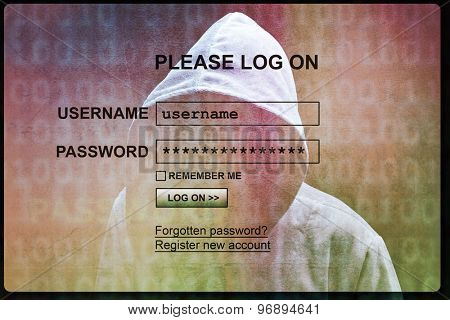 Computer hacker silhouette of hooded man with internet login screen concept for security, phishing and hacking network account username and password