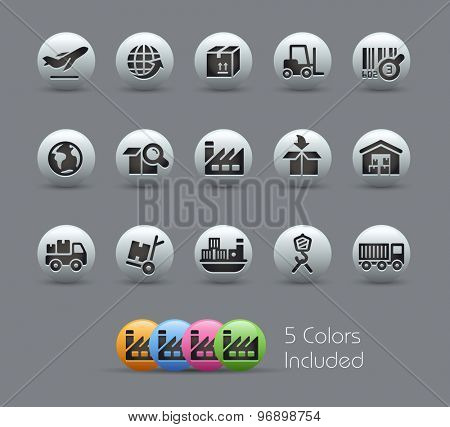 Industry and Logistics Icons // Pearly Series ----- The Vector file includes 5 color versions for each icon in different layers -----