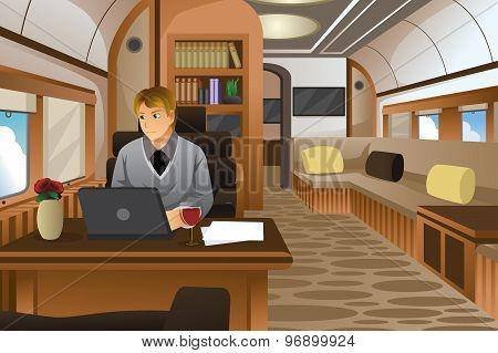 Businessman Traveling In A Luxurious Private Jet