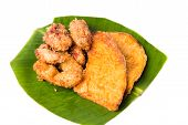 A serving consisting fried banana (pisang goreng) and fried sweet potatoes (keledek goreng), a popular snack in Malaysia, Singapore, Indonesia and Thailand. poster