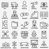 Set of seo and internet service icons - part 6 - vector linear symbols poster