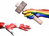 Flag of Peace overprinted on a hand holding a heavy hammer hitting a hand representing the Canada. Conceptual image for political fiscal or social aggressions penalties taxation poster