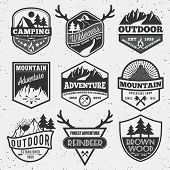 Set of monochrome outdoor camping adventure and mountain badge logo, emblem logo, label design poster