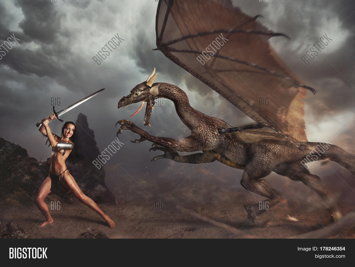 Sexy girl and dragon