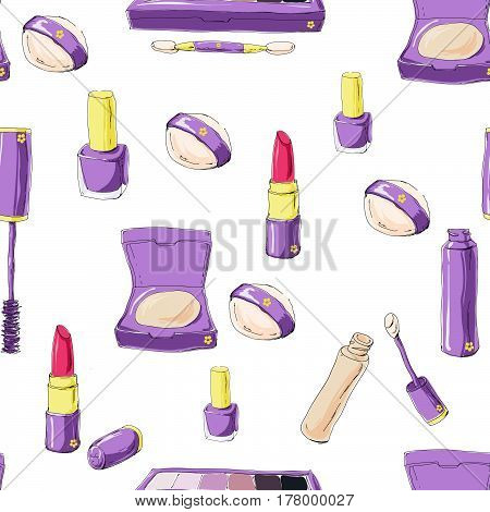 Seamless Pattern With Vector Hand Drawn Doodle  Makeup Products
